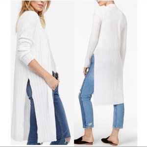 Free People Ribby Rib duster cardigan white small